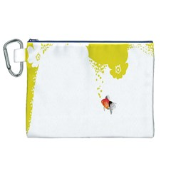 Fish Underwater Yellow White Canvas Cosmetic Bag (XL)
