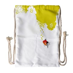 Fish Underwater Yellow White Drawstring Bag (large)