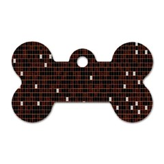 Cubes Small Background Dog Tag Bone (One Side)