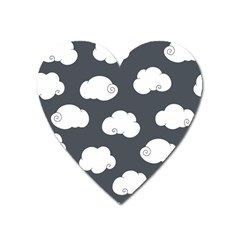 Cloud White Gray Sky Heart Magnet