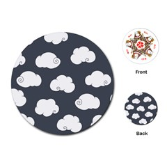 Cloud White Gray Sky Playing Cards (Round)