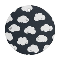 Cloud White Gray Sky Round Ornament (two Sides)