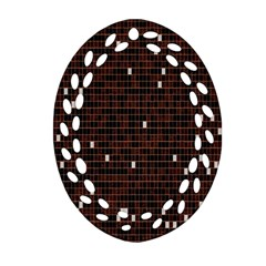 Cubes Small Background Oval Filigree Ornament (Two Sides)
