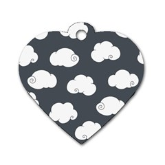 Cloud White Gray Sky Dog Tag Heart (Two Sides)