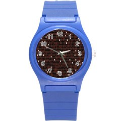 Cubes Small Background Round Plastic Sport Watch (S)