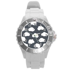 Cloud White Gray Sky Round Plastic Sport Watch (L)