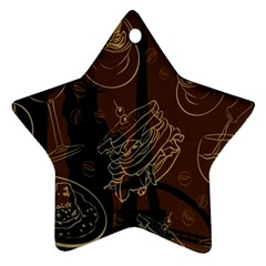 Coffe Break Cake Brown Sweet Original Ornament (Star)