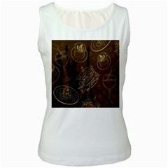 Coffe Break Cake Brown Sweet Original Women s White Tank Top