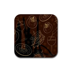 Coffe Break Cake Brown Sweet Original Rubber Coaster (Square)