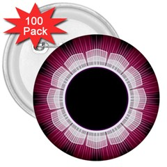 Circle Border Hole Black Red White Space 3  Buttons (100 pack)