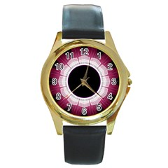 Circle Border Hole Black Red White Space Round Gold Metal Watch