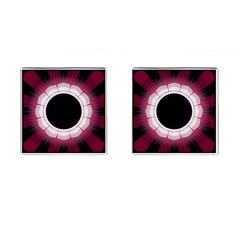 Circle Border Hole Black Red White Space Cufflinks (square)