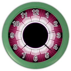Circle Border Hole Black Red White Space Color Wall Clocks