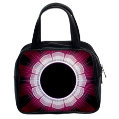 Circle Border Hole Black Red White Space Classic Handbags (2 Sides)