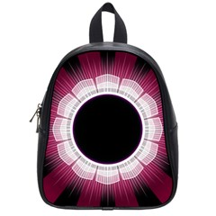 Circle Border Hole Black Red White Space School Bags (Small)