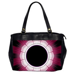 Circle Border Hole Black Red White Space Office Handbags (2 Sides)