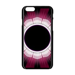Circle Border Hole Black Red White Space Apple iPhone 6/6S Black Enamel Case