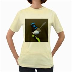 Animals Bird Green Ngray Black White Blue Women s Yellow T-Shirt