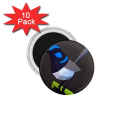 Animals Bird Green Ngray Black White Blue 1.75  Magnets (10 pack)