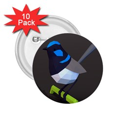 Animals Bird Green Ngray Black White Blue 2.25  Buttons (10 pack)