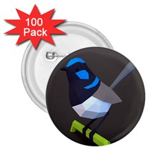 Animals Bird Green Ngray Black White Blue 2 25  Buttons (100 Pack)