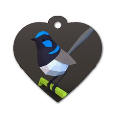 Animals Bird Green Ngray Black White Blue Dog Tag Heart (One Side)