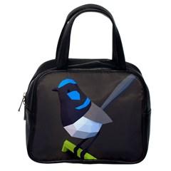 Animals Bird Green Ngray Black White Blue Classic Handbags (one Side)
