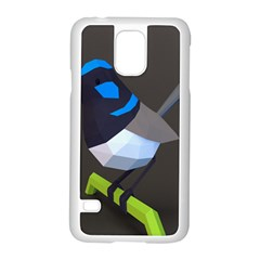 Animals Bird Green Ngray Black White Blue Samsung Galaxy S5 Case (White)