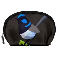 Animals Bird Green Ngray Black White Blue Accessory Pouches (Large)