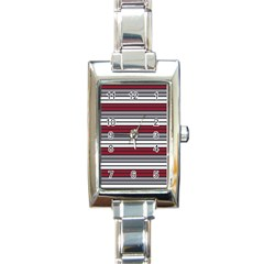 Fabric Line Red Grey White Wave Rectangle Italian Charm Watch