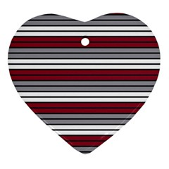 Fabric Line Red Grey White Wave Ornament (Heart)