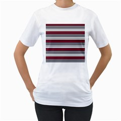 Fabric Line Red Grey White Wave Women s T Shirt (white) (two Sided)