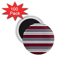 Fabric Line Red Grey White Wave 1 75  Magnets (100 Pack)