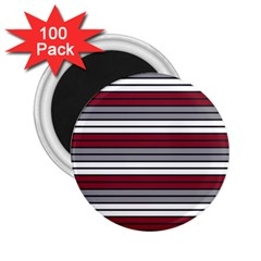 Fabric Line Red Grey White Wave 2 25  Magnets (100 Pack)