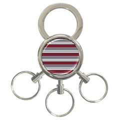 Fabric Line Red Grey White Wave 3-Ring Key Chains