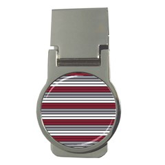 Fabric Line Red Grey White Wave Money Clips (Round)