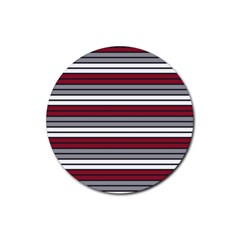 Fabric Line Red Grey White Wave Rubber Round Coaster (4 pack)