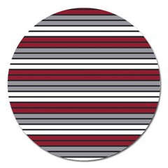 Fabric Line Red Grey White Wave Magnet 5  (Round)