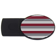 Fabric Line Red Grey White Wave USB Flash Drive Oval (1 GB)