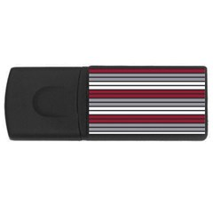 Fabric Line Red Grey White Wave USB Flash Drive Rectangular (1 GB)