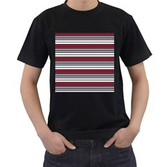 Fabric Line Red Grey White Wave Men s T Shirt (black) (two Sided)