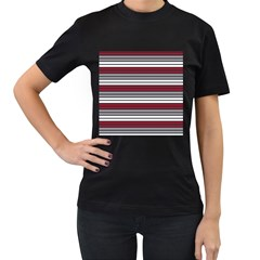 Fabric Line Red Grey White Wave Women s T-Shirt (Black) (Two Sided)