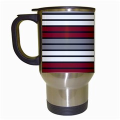 Fabric Line Red Grey White Wave Travel Mugs (White)