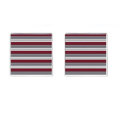 Fabric Line Red Grey White Wave Cufflinks (square)
