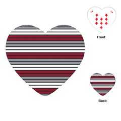 Fabric Line Red Grey White Wave Playing Cards (Heart)