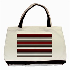 Fabric Line Red Grey White Wave Basic Tote Bag (Two Sides)