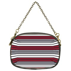 Fabric Line Red Grey White Wave Chain Purses (One Side)
