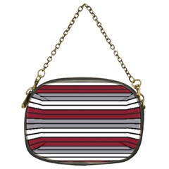 Fabric Line Red Grey White Wave Chain Purses (Two Sides)