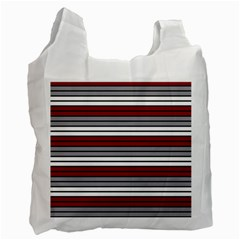 Fabric Line Red Grey White Wave Recycle Bag (One Side)