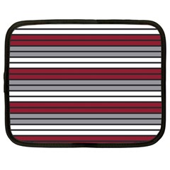 Fabric Line Red Grey White Wave Netbook Case (XL)